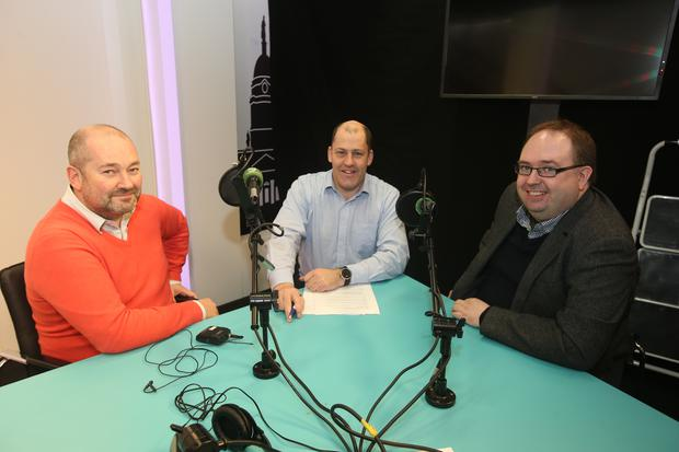 Brian Purcell with Paul Hayes, left and Dermot Cahalane before the independent.ie business podcast. Picture credit; Damien Eagers 9/2/2016