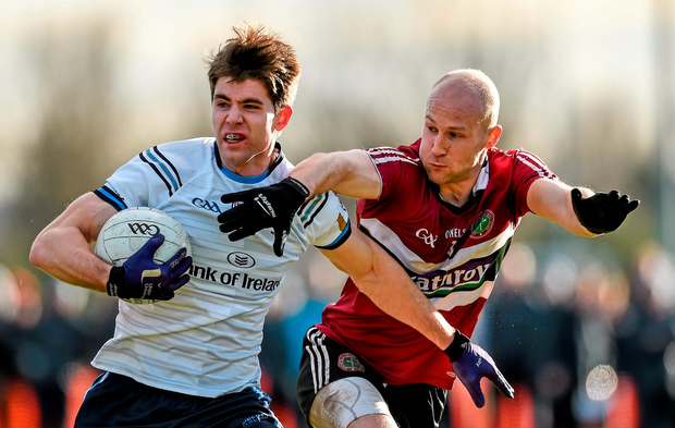 Conan Grugan, University of Ulster Jordanstown, in action against Danny McBride, St Mary's University College. Picture credit: Oliver McVeigh / SPORTSFILE