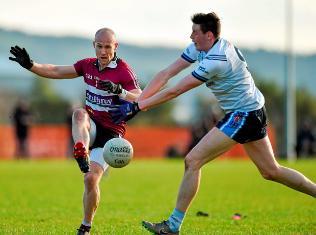 Danny McBride, St Mary's University College, in action against Niall McKeever, University of Ulster Jordanstown. Picture credit: Oliver McVeigh / SPORTSFILE