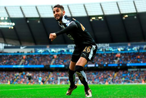 Leicester City's Riyad Mahrez celebrates after scoring against Manchester City. Photo: PA