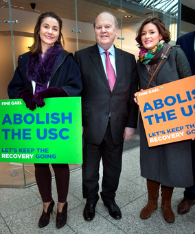 Finance Minister Michael Noonan with Fine Gael candidates Anne Marie Dermody and Kate O'Connell Photo: Tony Gavin