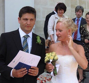 Suzanne and Olivier on their wedding day.