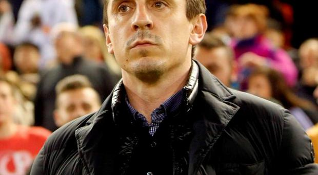 Valencia's head coach Gary Neville. Photo: Alberto Saiz/AP Photo