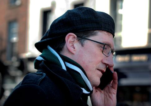 Green party leader Eamon Ryan campaigning in Dublin. Photo: Tom Burke