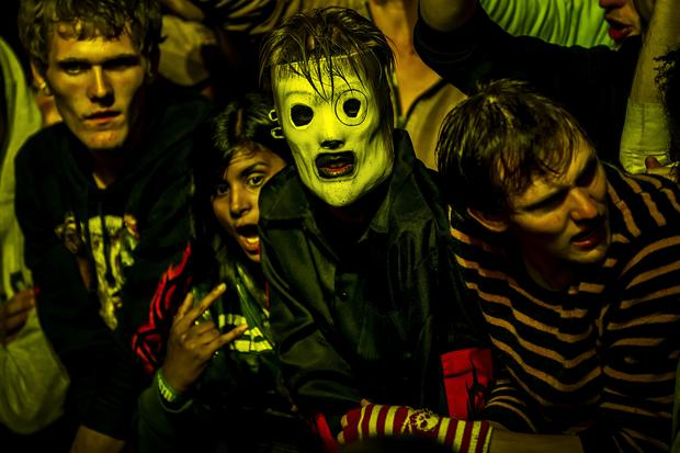 Masked fans of American heavy metal band Slipknot Photo: TORKIL ADSERSEN/AFP/Getty Images
