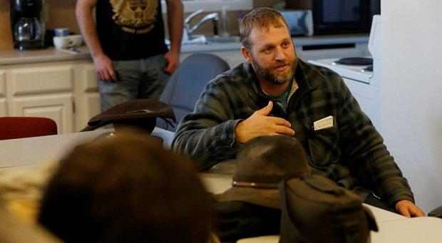 Ammon Bundy meets with members of the Pacific Patriots Network at the Malheur National Wildlife Refuge near Burns, Oregon, January 8, 2016
