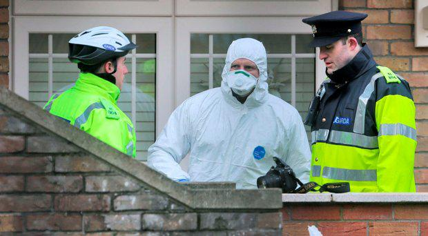 Garda at the scene of the fatal shooting of Eddie Hutch snr