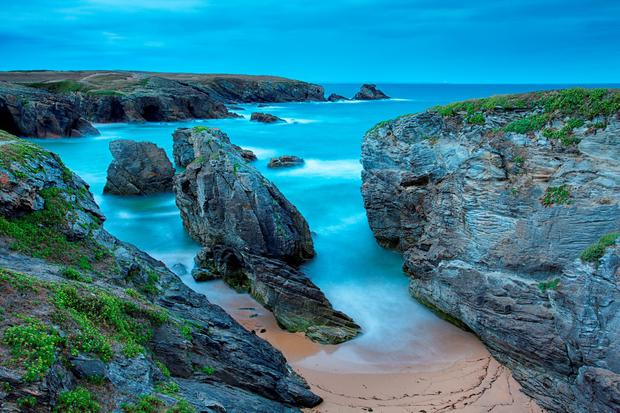 Cote Sauvage at Qiberon peninsula. Brittany in evening light
