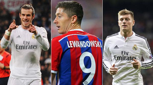 L-R: Gareth Bale, Robert Lewandowski and Toni Kroos