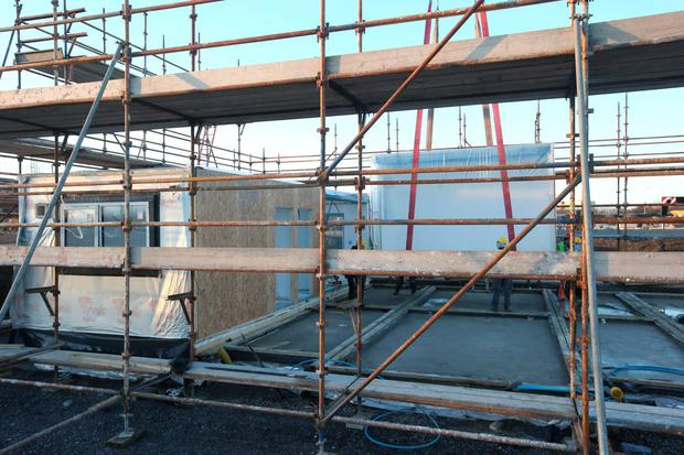 Work On The Modular Homes Site In Ballymun In Dublin. Photo: Damien Eagers.