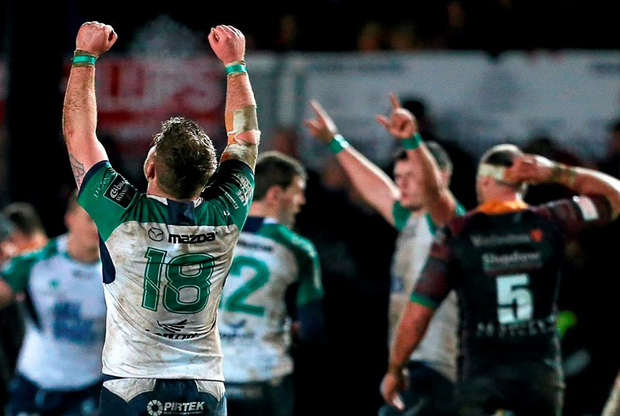 Connacht's Finlay Bealham celebrates at the final whistle. Picture credit: Gareth Everett / SPORTSFILE