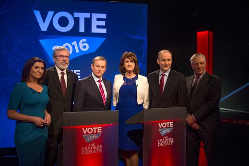 Collette Fitzpatrick, Gerry Adams, Sinn Fein, Taoiseach Enda Kenny, Fine Gael, Tainaiste Joan Burton, Labour, Michael Martin Fianna Fail and Pat Kenny at the Vote 2016 Leaders Debate at TV3 studios in Dublin. Photo: Arthur Carron
