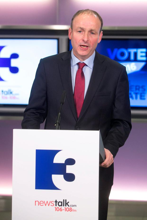 Fianna Fail leader Micheal Martin TD at the first General Election 2016 TV and radio debate on TV3. Photo: Sam Boal/Rollingnews.ie
