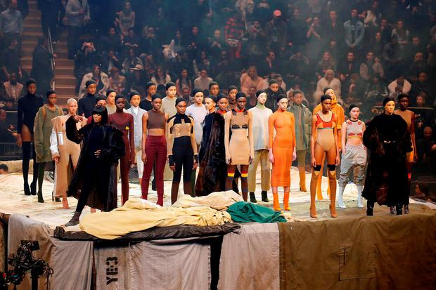 Models pose during Kanye West Yeezy Season 3 on February 11, 2016 in New York City. (Photo by JP Yim/Getty Images for Yeezy Season 3)