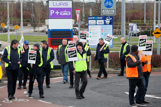 Striking LUAS drivers pictured on the picket line at the Red Cow LUAS depote Picture Colin Keegan
