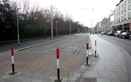An Empty Stephens Green Luas platform in Dublin due to a strike over pay disputes Photo: Gareth Chaney Collins