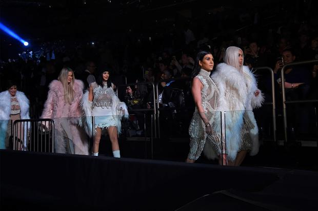 (L-R) Kris Jenner, Khloe Kardashian, Kylie Jenner, Kourtney Kardashian and Kim Kardashian attend Kanye West Yeezy Season 3 on February 11, 2016 in New York City. (Photo by Jamie McCarthy/Getty Images for Yeezy Season 3)