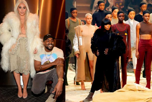 Kim Kardashian and Kanye West backstage at his Yeezy 3 show and (right) Naomi Campbell leads models during the presentation