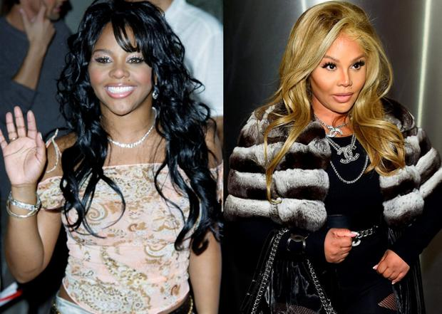 Lil' Kim in 2001 and in 2016