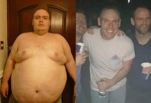 Patrick before and after his weight loss