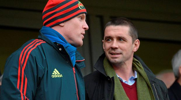 Paul O'Connell in conversation with former Munster team-mate Alan Quinlan
