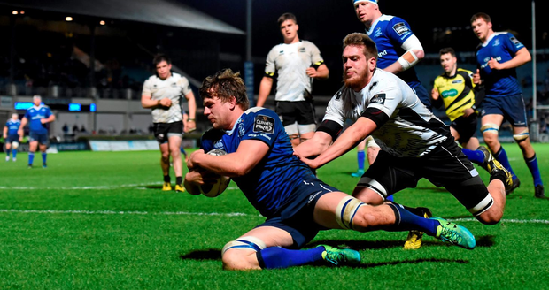 Leinster's Jordi Murphy goes over to score his side's fifth try against Zebre. Picture credit: Stephen McCarthy / SPORTSFILE