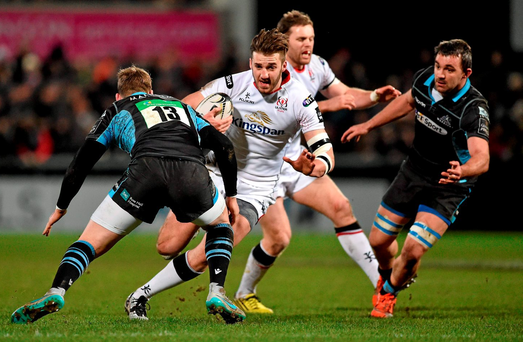 Ulster's Stuart McCloskey on the charge against Glasgow. Picture credit: Oliver McVeigh / SPORTSFILE