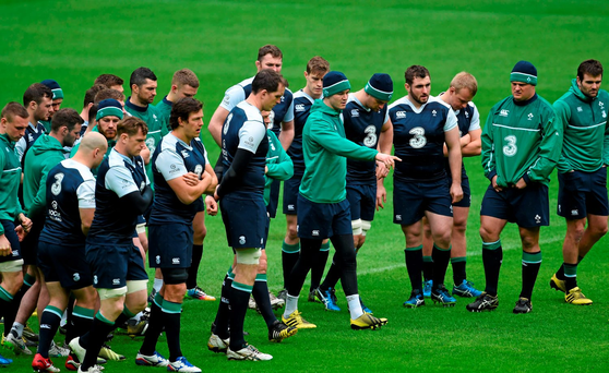 Johnny Sexton makes a point to his team-mates during the captain's run in Paris yesterday (SPORTSFILE)