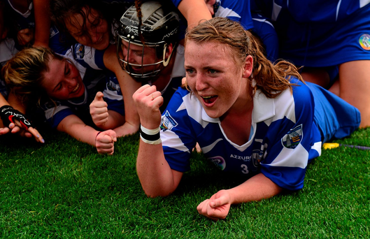 Waterford's Claire Whyte celebrates after last year's All Ireland Intermediate Camogie Championship Final Photo: Sportsfile