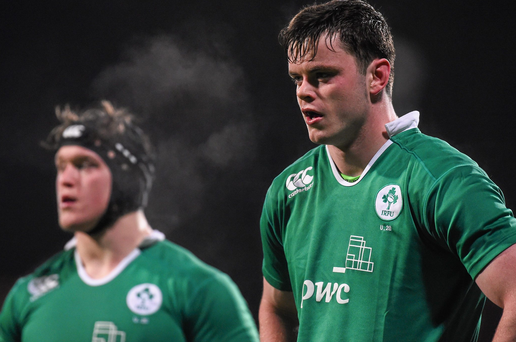 Ireland U20s captain James Ryan and Andrew Porter. Picture credit: Ramsey Cardy / SPORTSFILE