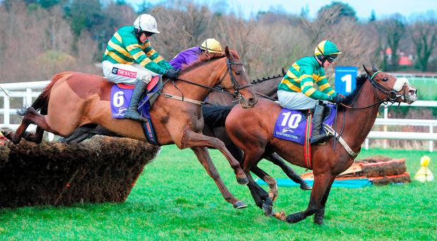 Blazer ridden by Barry Geraghty (number six) comes with a storming run to win at Leopardstown last week Photo: PA