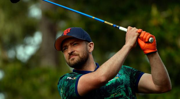 Justin Timberlake plays his tee shot on the 17th hole during the first round of the AT&T Pebble Beach National Pro-Am (Getty Images)