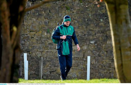 Ireland's Jonathan Sexton arrives for squad training