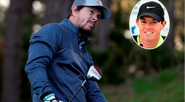 Mark Wahlberg almost got a hole-in-one and Rory McIlroy (inset) was impressed