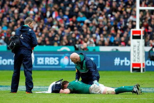 Ireland's flanker Sean O'Brien lies on the pitch during the Six Nations international rugby union match between France and Ireland