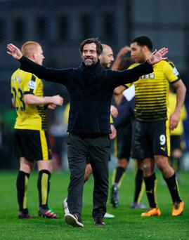 Watford manager Quique Sanchez Flores celebrates at the end of the match