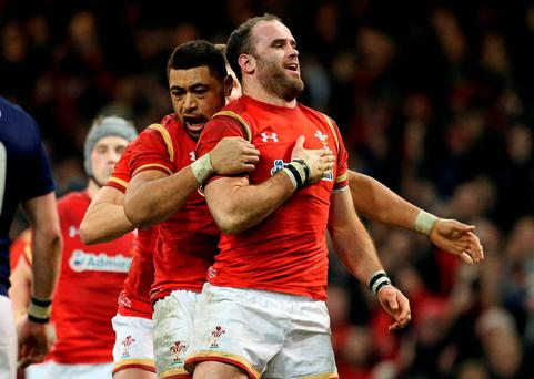 Wales Jamie Roberts celebrates scoring their second try during the 2016 RBS Six Nations match at the Principality Stadium