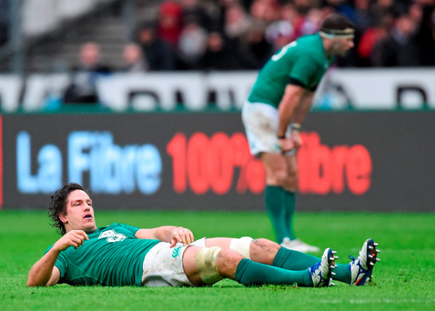 Ireland's Mike McCarthy after picking up a concussion. Picture credit: Ramsey Cardy / Sportsfile