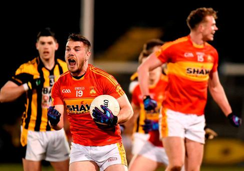 Fergal Durkan, Castlebar Mitchels, celebrates late in the game. AIB GAA Football Senior Club Championship Semi-Final, Castlebar Mitchels, Mayo, v Crossmaglen Rangers, Armagh. Kingspan Breffni Park, Cavan. Picture credit: Stephen McCarthy / SPORTSFILE