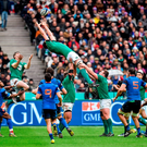 Devin Toner reaches for a restart during yesterday's match at the Stade de France. Photo: Brendan Moran. Photo: Sportsfile