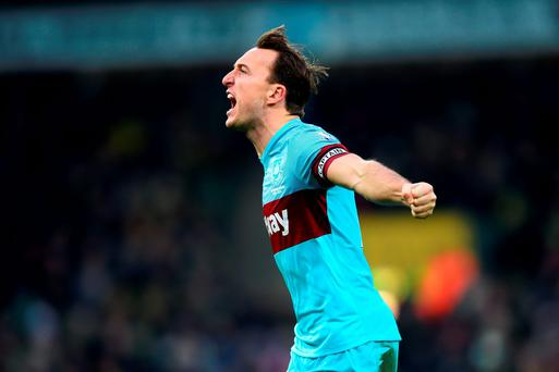 West Ham captain Mark Noble celebrates scoring his team's equalising goal. Photo: Getty