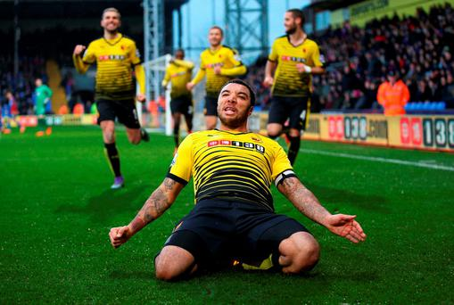 Watford's Troy Deeney celebrates scoring his team's second goal. Photo: Getty