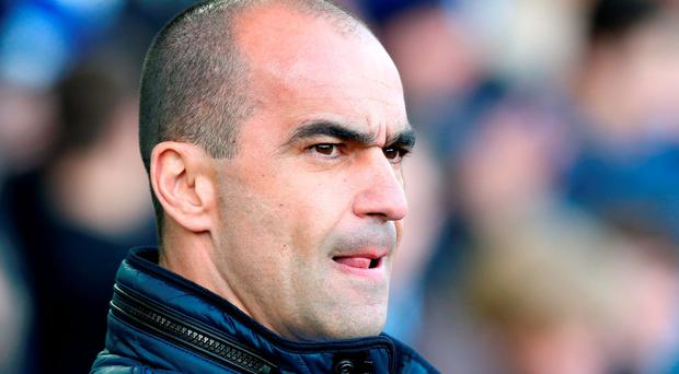 Everton manager Roberto Martinez during match at Goodison Park. Photo: PA