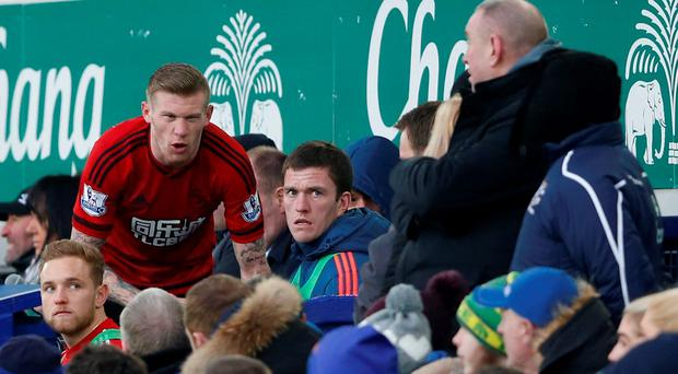 West Brom's James McClean clashes with a fan after being substituted Action Images via Reuters / Carl Recine