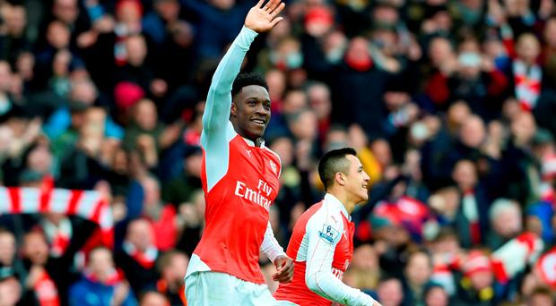 Danny Welbeck of Arsenal celebrates after scoring the winning goal during the Barclays Premier League match between Arsenal and Leicester City at the Emirates