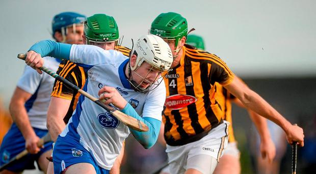 Shane Bennett, Waterford, in action against Kilkenny's Shane Prendergast and Diarmuid Cody, behind. Allianz Hurling League, Division 1A, Round 1, Waterford v Kilkenny. Walsh Park, Waterford. Picture credit: Piaras Ó Mídheach / SPORTSFILE
