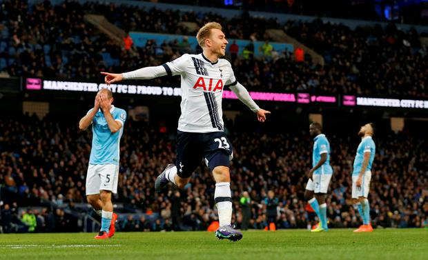 Christian Eriksen celebrates after scoring the second goal for Tottenham