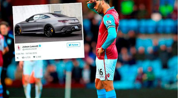 Jolean Lescott posted an image of a flash sports car after being thumped by Liverpool