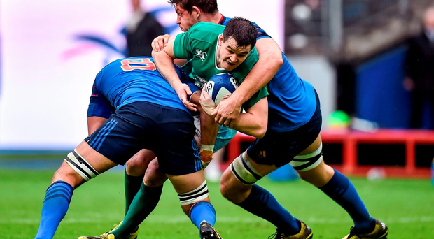 Johnny Sexton is sandwiched between France's Damien Chouly and Alexandre Flanquart during Saturday's Six Nation's clash at the Stade de France. Photo: Sportsfile