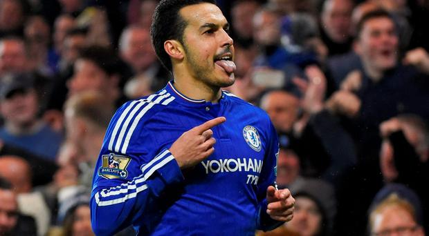 Chelsea's Pedro celebrates scoring their second goal Photo: Reuters